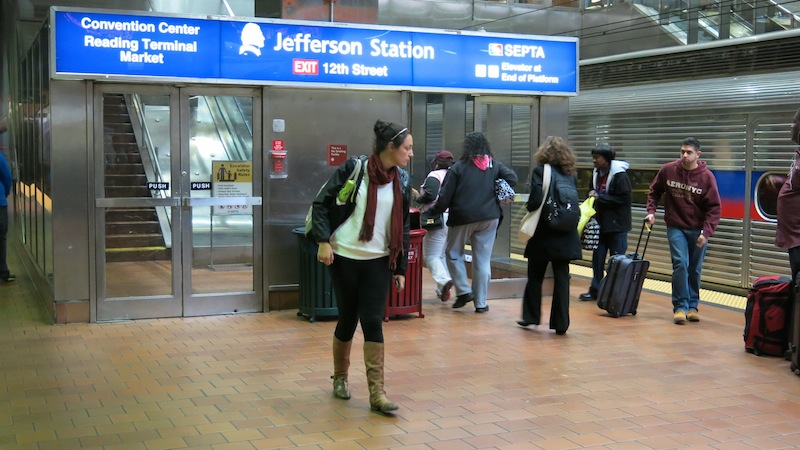 It's Jefferson Station now although Philly natives still call it Market East or just 12th Street station. It's at 12th and Filbert. ASCB photo John Fleischman