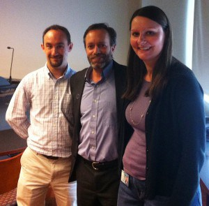 Adriana Bankston (right) and John G. Tooley (left), postdocs and co-founders of the CRAFT seminar series at the University of Louisville, pose with Dr. Keith Micoli (middle), Postdoctoral Program Director at NYU Langone Medical Center, following his CRAFT seminar presentation in 2014.