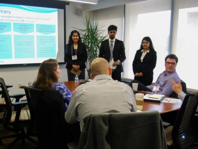 University of Pittsburgh graduate student team presents their ideas to judges in the 2015 Pitt Health Innovation Case Competition.