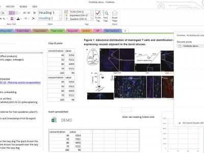 A screen grab of OneNote demonstrating some of the features most useful for lab notebooks, including searching within images.