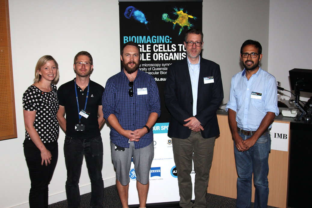 Meeting organizers Samantha Stehbens, Markus Kerr, and Adam Wall, keynote speaker Wolfgang Weninger, and meeting organizer Guillermo Gomez at the symposium Bioimaging—Single Cells to Whole Organisms