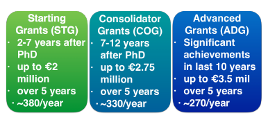 Figure 3. Types of ERC grants