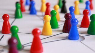 multicolored game pieces