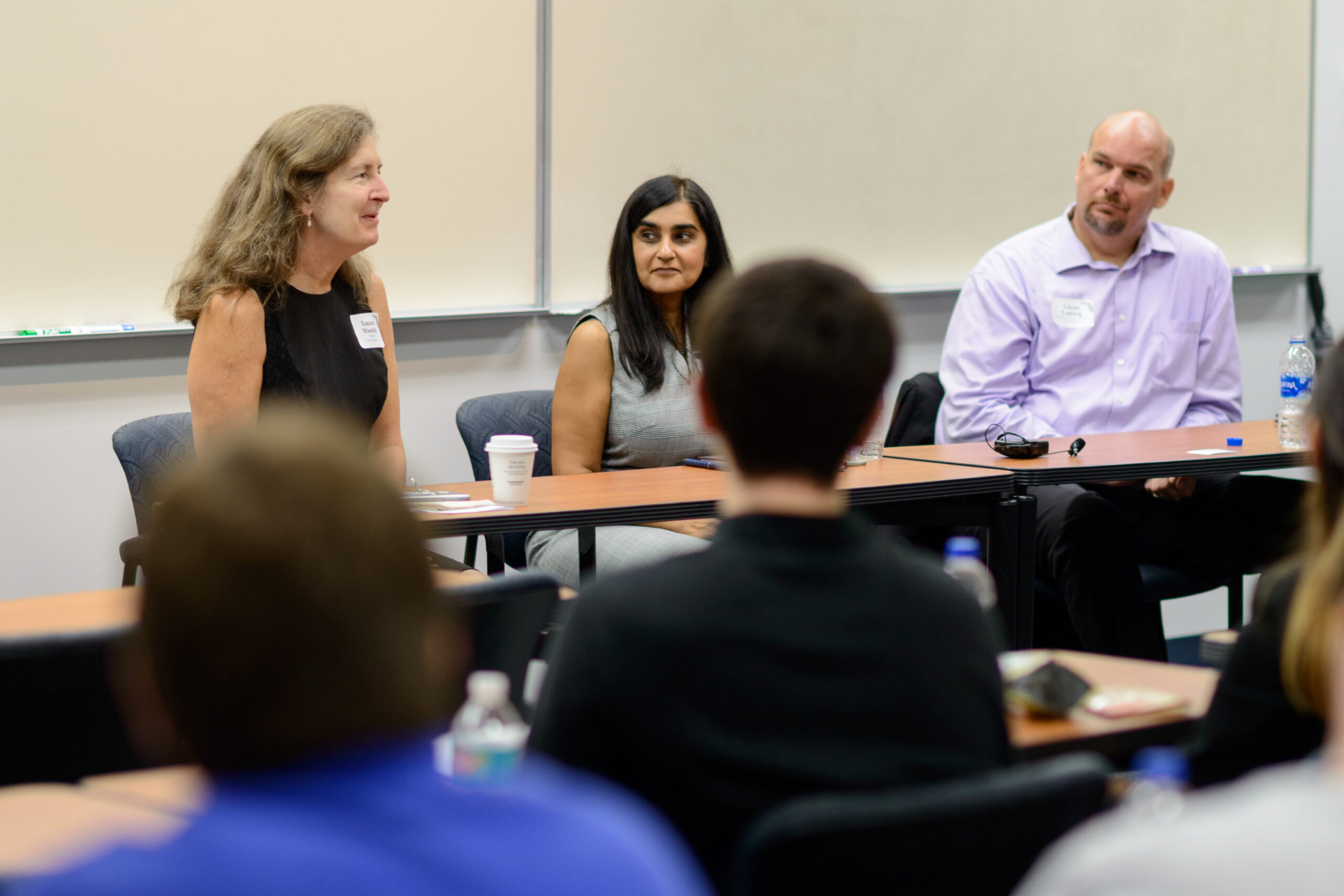 Panelists (left to right) Tamara Mandell, Dr. Zahara Jaffer, and Glenn Ladwig answer a variety of student questions centered around careers outside academia.