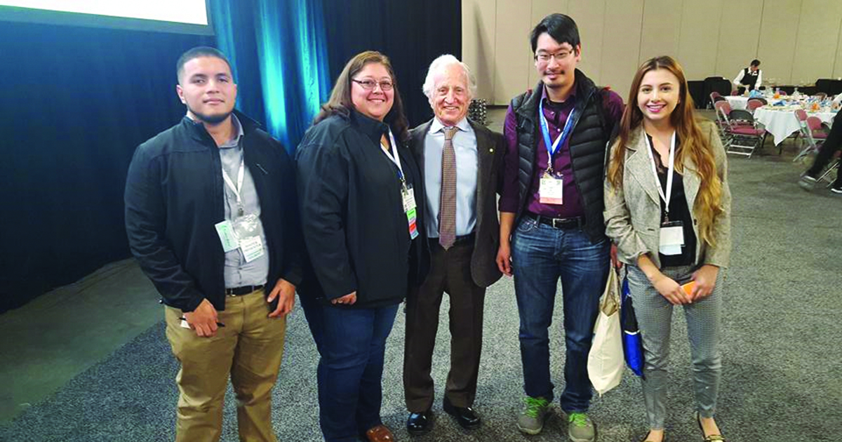 Heritage University undergraduate researchers and others at the 2017 Society for Advancement of Chicanos/Hispanics and Native Americans in Science Research Conference at Salt Lake City. From left to right: Juan Cabrera (computer science undergraduate researcher mentored by John Tsiligkaridis), Rosario Ramirez (NSF REU alum, 2017), Mario Capecchi (co-winner of 2007 Nobel Prize in Physiology or Medicine), Bob Kao (principal investigator, Heritage University's NSF REU), and Alondra Zaragoza-Mendoza (NSF REU alum, 2017)