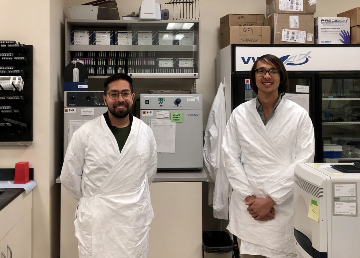 José Andrade-Lopez, a fellow grad student, and me volunteering at the Monterey County Public Health Laboratory in Salinas, CA to aid in the COVID-19 effort in our community. We perform viral RNA extractions and RT-PCR to detect viral infection in nasopharyngeal and oropharyngeal swab samples. Photo credit: Ricky Gonzalez